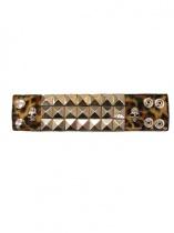 SEX POT ReVeNGe 3-ren Pyramid Skull Wristband (Leopard)