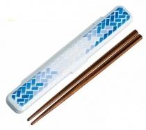 HAKOYA Tatsumiya Ajiro Chopstick Box with Chopstick White Blue