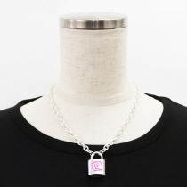 LISTEN FLAVOR Padlock Necklace Silver