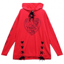 LISTEN FLAVOR Play For LoveLace-up Hooded Cutsew F Red