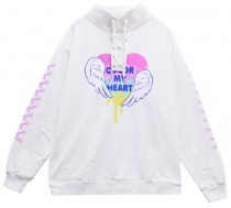 LISTEN FLAVOR Rainbow Color Heart Lace-up Stand Collar Top F White