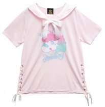 LISTEN FLAVOR Tomboy Unicorn Lace-up Sailor Cutsew Baby Pink