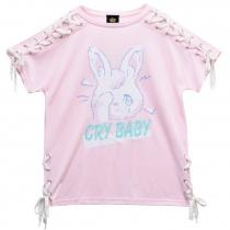LISTEN FLAVOR Crybaby Rabbit Lace-up Cutsew Pink