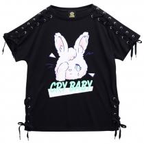 LISTEN FLAVOR Crybaby Rabbit Lace-up Cutsew Black